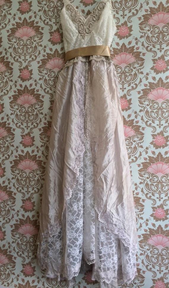 White pale taupe tulle lace boho princess wedding dress by for Taupe lace wedding dress
