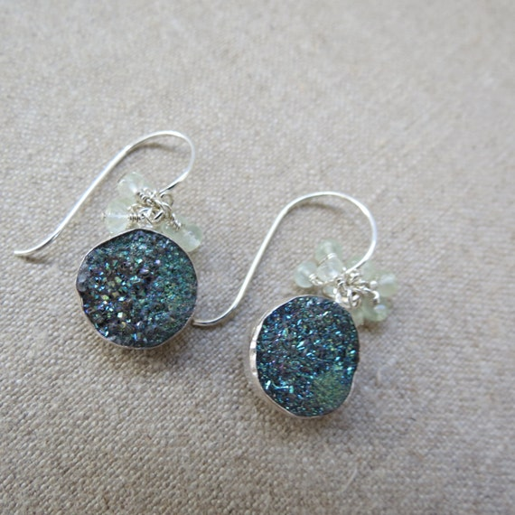 RESERVED for DAVID ~ Green Druzy Druse & Prehnite Sterling Silver Dangle Earrings - Woodland Magic