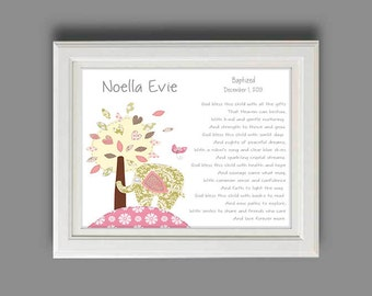 Girls baby christening gifts baptism gift for girl baby girl baptism gift christening gifts for girl elephant nursery decor personalized gift negle Image collections