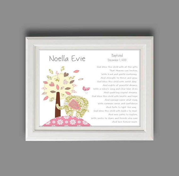 Baby girl baptism gift christening gifts for girl elephant - Gifts for baby christening ideas ...