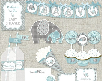 "Elephant Baby Shower in Blue DIY Printable PDF Party - ""Baby of Mine"" Collection"