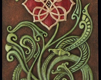 Wild Irish Rose - Cast Paper -  Irish art - Celtic Flower - Celtic Rose - Celtic Knot