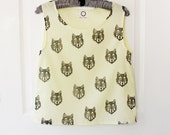 Box singlet top with block printed wolf faces - black on lemon