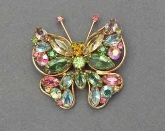WEISS Rhinestone Butterfly Brooch Pin Circa 1940s Unsigned