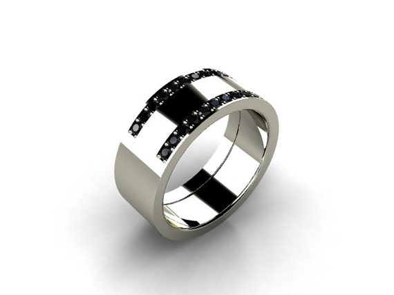 Black Diamond Ring Mens Wedding Band Palladium Wedding Ring