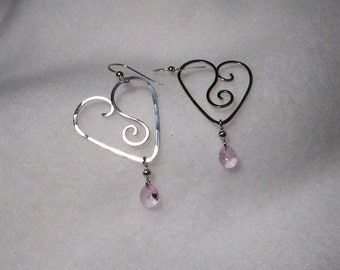Free Form Sterling Heart Earrings with Pink Swarovski Drops