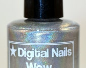 Wow: an eye-busting silver-based linear holographic polish, inspired by Doge, by Digital Nails