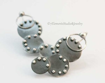 Unique Fused Earrings, Argentium Silver Studded Earrings, High Karat Silver Earrings