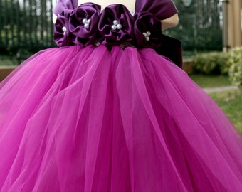 Flower Girl Dress Purple Plum tutu dress baby dress toddler birthday dress wedding dress 1T 2T 3T 4T 5T 6T 7T 8T