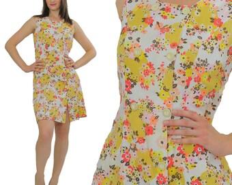 Vintage Mod mini dress Boho mini dress mini floral dress Hippie dress Festival dress Double breasted button dress sleeveless mini dress M