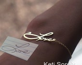 10K, 14K or 18K Solid Gold or Sterling Silver -Your Handwritten Signature or name Bracelet - Memorial Bracelet in Yellow, Rose or White Gold