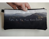 Mountains Quote Photo Zippered Pouch Cosmetics Bag Pencil Case Makeup Pouch Rustic Woodland Mountains Photo Pouch Unisex Accessory