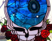 Space Your Face Stained Glass Panel - Grateful Dead -with Agate Geode