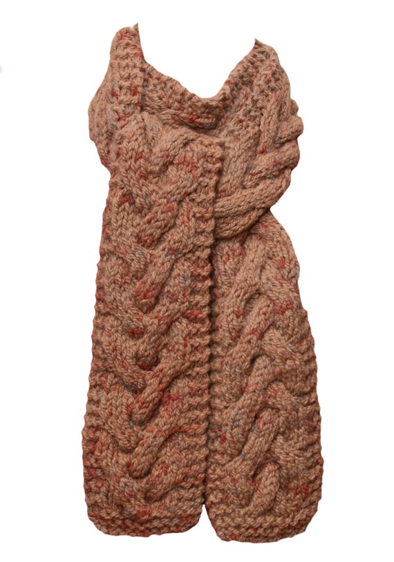 Knitting Patterns Alpaca Chunky : Knit Scarf Tan Chunky Cable Deer Valley Alpaca