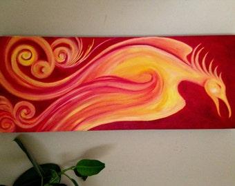 "Original Art - Mythology - Firebird - Red - Giclee Print on Stretched Canvas - ""Phoenix"""