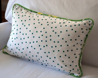 Bob Collins and Sons hand screened linen polka dot pillow cover. Turquoise, lime, yellow, white. Custom piping. Ready to ship.