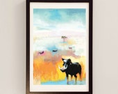 Letter from Lewa by D McConochie / Africa Landscape Painting / Collage Art / African Plains / Mixed Media Wall Art