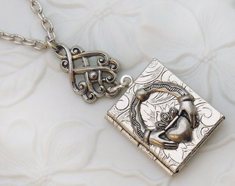Claddagh Locket,  Irish Book Locket  , Irish or Celtic Jewelry
