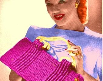 Almost FREE Vintage 1944 Ridged Cable Bag 1066 PDF Digital Crochet Pattern