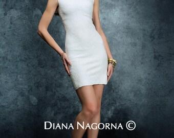 Felted dress, white dress, Nuno-felt summer dress, dress with beading, handmade, free shipping