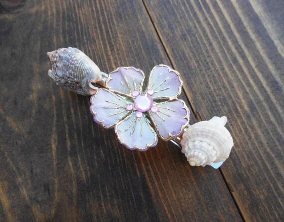 Seashell Hair Barrette - Handmade Nautical Design - Beach Accessory - Flower Accessory - Pink Flower - Dove and Crown Shell