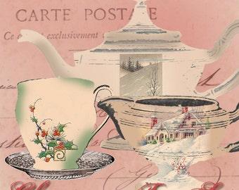 Christmas Tea Set - Digital Collage Sheet - Tea Party Images - Xmas Tea Party Images