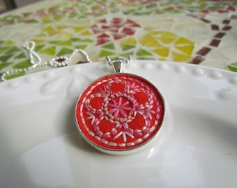 Flower vintage inspired hand embroidered pendant, coral, peach, pink, red orange