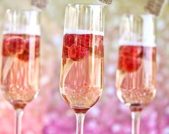 10 Gold Glitter Wedding Drink Stirrers, Rustic Wedding, Swizzle Stick, Stir Sticks