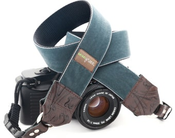The 'Walter' Grey Velvet Camera Strap with Quick Release Buckles -- 1.5 inches wide