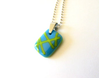 Lemongrass and the Sky - Glass Necklace Pendant - Free Shipping