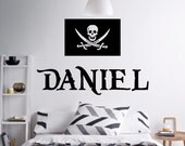 Large Pirate Flag and Your Name wall decal - removable vinyl wall art for kids room, playroom and nursery decor (ID:141021)
