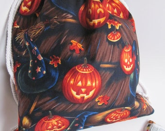 Halloween Drawstring Bag, Witches Hats, Brooms, and Jack-O-Lanterns, Trick or Treat Bag, 14 x 12 inches, Fully Lined with Orange Cotton