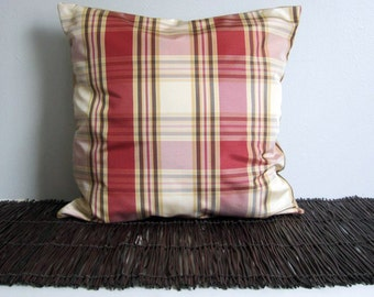 Red Plaid Pillow Cover- 16x16 Marsala Decorative Pillow - Ready to Ship