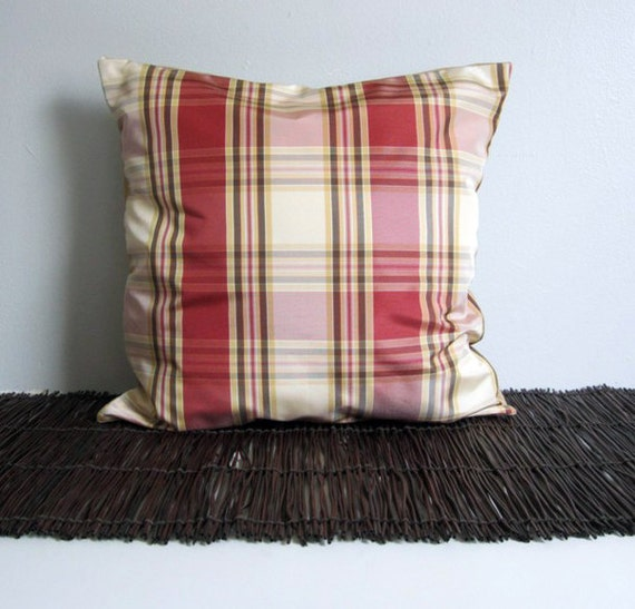 Red Plaid Throw Pillow Cover : Red Plaid Pillow Cover 16x16 Marsala Decorative Pillow