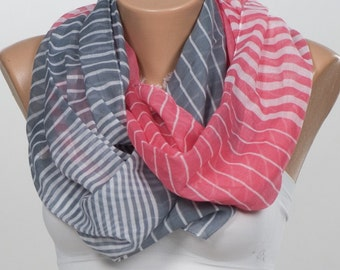 Men scarves. Soft Red and Soft  Blue and White Stripped Scarf. SAILOR Scarf. Long Scarf.