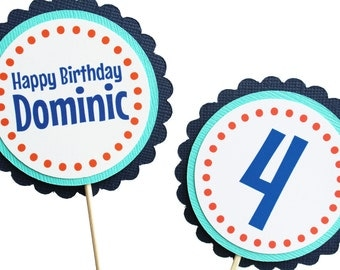 Happy Birthday Cupcake Toppers - Personalized Name and Age - Teal Navy Orange White