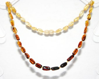 Baltic amber adult necklace rainbow color olive beads 18