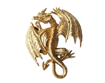 The Ramoth in Gold - Gold Resin Dragon - Resin Gold Faux Taxidermy- Chic & Trendy Fantasy Mount