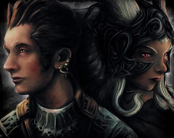 Final Fantasy 12 Fran and Balthier Painting  - signed museum quality giclée fine art print