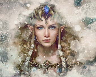 Legend of Zelda Epic Princess Zelda Painting - signed museum quality giclée fine art print