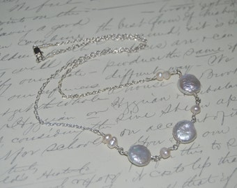 Natural White Freshwater Pearls  Wire Wrap Necklace