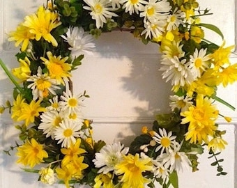 Yellow Daisy Wreath, Summer Wreath, Front Door Wreath