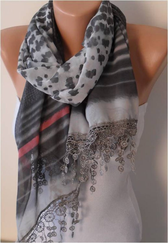 Gray and Pink Chiffon Scarf with Lace Edge