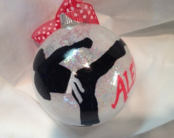 Tae Kwon Do Christmas Ornament, Hand Painted, Personalized Ornament