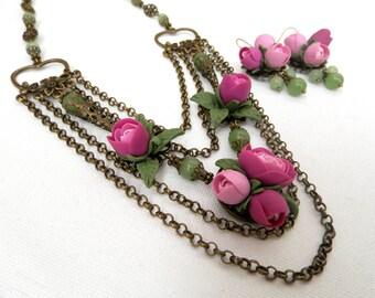 Flower Jewelry, Handmade Jewelry, Wedding Jewelry, Roses, Statement Flower Necklace, Flower Earrings, Gift For Her, Romantic Jewelry,Flowers