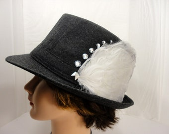 Gray Fedora with Feathers and Rhinestones