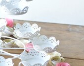 Paper Flowers, Pink Gold Ivory Baby Shower Flowers, Party Centerpiece
