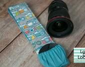 Organic Cotton DSLR Camera Strap Cover w/ Lens Cap Pocket