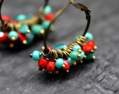 Hoop earrings, made with red and turquoise faceted czech beads