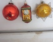 Vintage  Christmas Tree Ornaments Including A Victorian Tinsel Ball